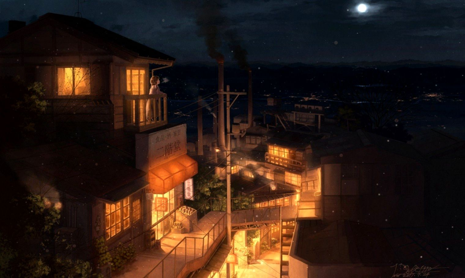 city building night industrial city moon anime anime girls