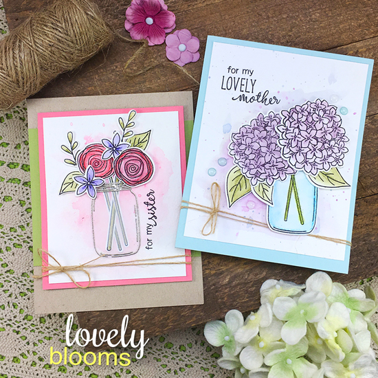 Mother and Sister Cards by Jennifer Jackson | Flowers in Jars | Lovely Blooms Stamp Set by Newton's Nook Designs #newtonsnook