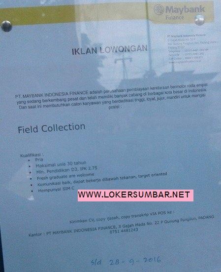 Lowongan Kerja di Padang – PT.Maybank Indonesia Finance – Field Collection (Penutupan 28 Sept.2016)