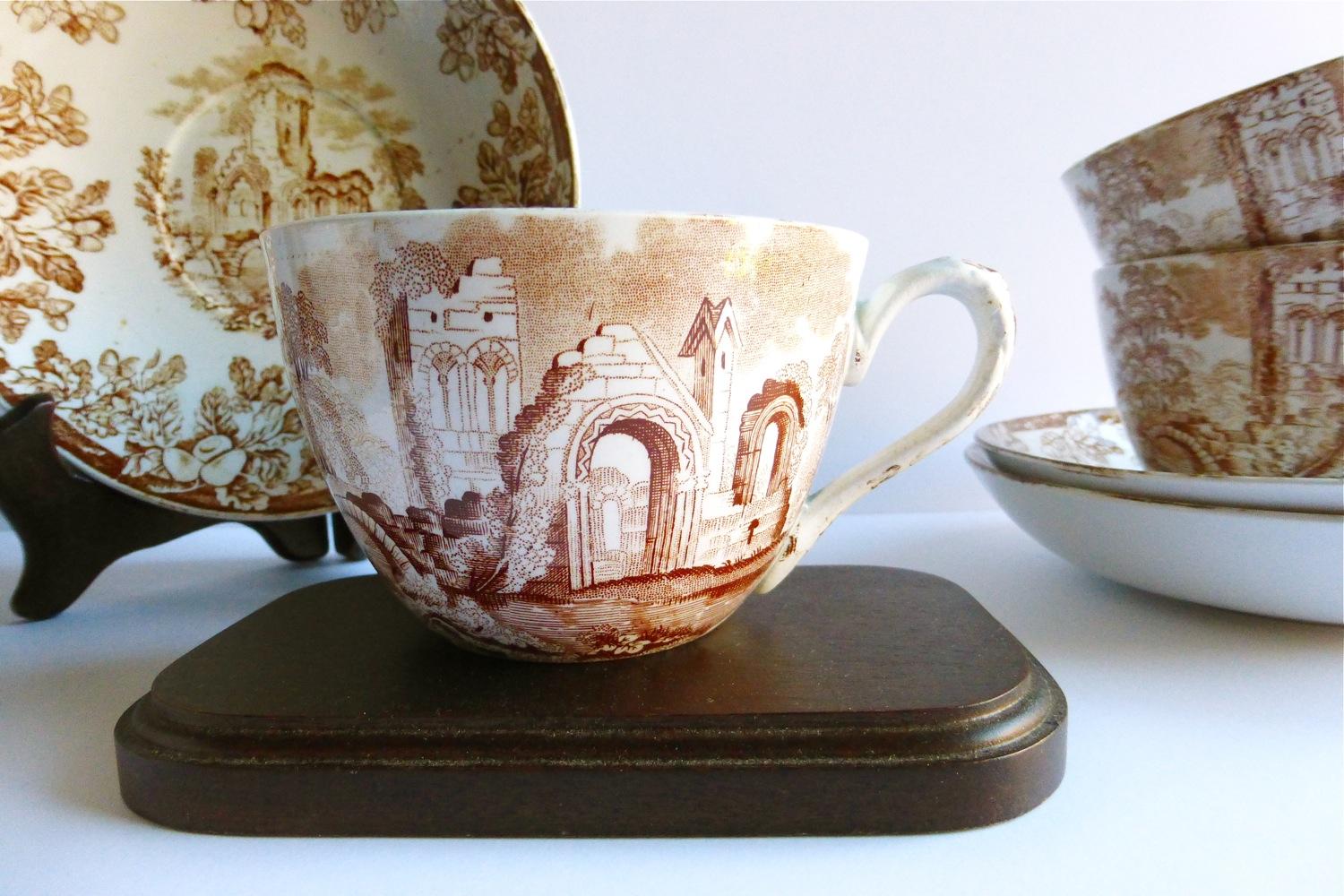 Etsy Vintage Tea Treasures, Vintage Tea Treasures on Etsy, vintage tea ware shop, antique tea ware shope, W.T. Copeland Spode Abbey Ruins teacups and saucers, antique W.T. Copeland Spode teacups and saucers, W.T. Copeland Spode Abby Ruins, W.T. Copeland Spode Ruins, W.T. Copeland Spode Melrose, decorative transferware teacups and saucers, W.T. Copeland Spode transferware, abbey teacup, acorn teacup, abbey and acorn teacup, brown transferware, antique transferware, autumn transferware, vintage tea party