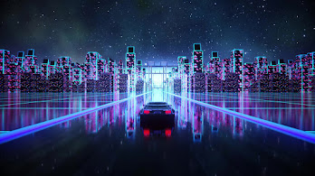 Synthwave, Night, City, Car, Digital Art, 4K, #6.1250