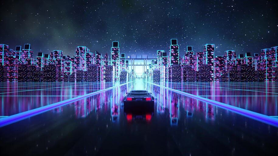 Synthwave, Night, City, Car, Digital Art, 4K, #6.1250
