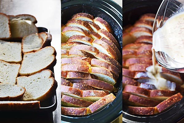 Step-by-step photos of slow cooker french toast being prepared