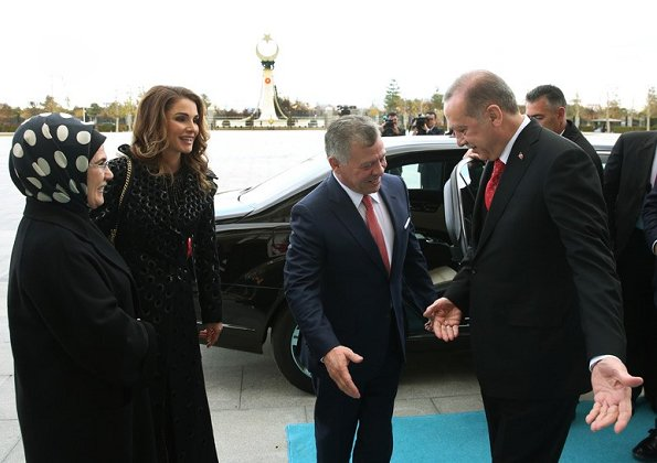 King Abdullah and Queen Rania, President Erdoğan and Emine Erdoğan at Presidential Palace in Ankara