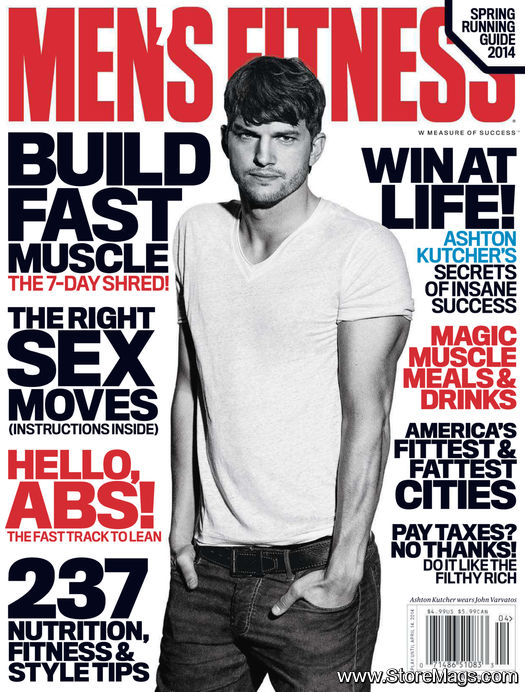 Ashton Kutcher is the hot hunk on the cover of Men's Fitness US April 2014