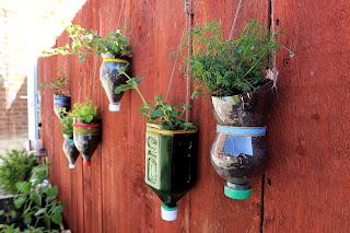 Upcycled bottle planters