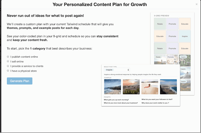 Tailwind for Instagram content plan feature | A Relaxed Gal