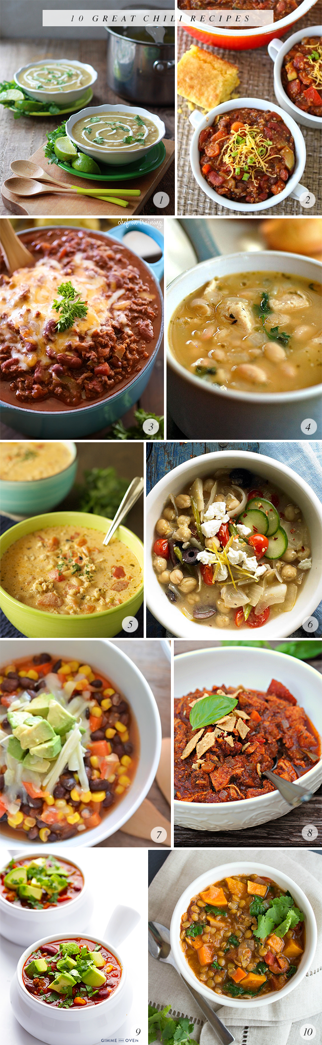 10 Great Chili Recipes // Bubby and Bean