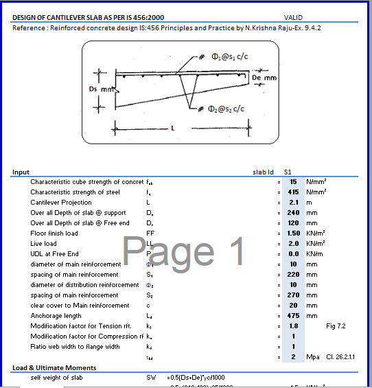 Design of Cantilever Slab as per IS 456:2000