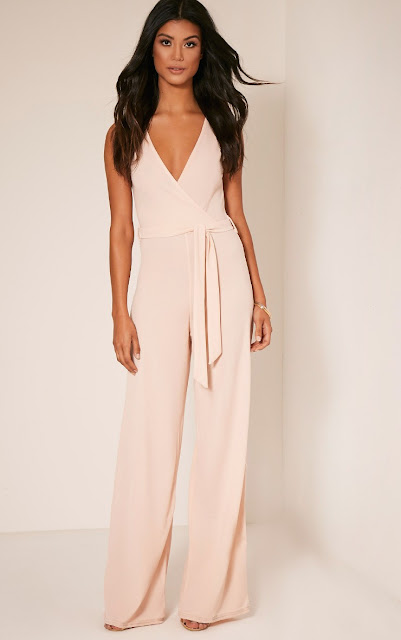 blush coloured tie wrap jumpsuit