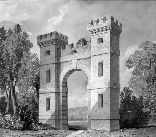 A picture of a drawing of Folly Arch, erected by Sir Jeremy Sambrooke, owner of Gobions. From a drawing by J.C. Buckler, 1840