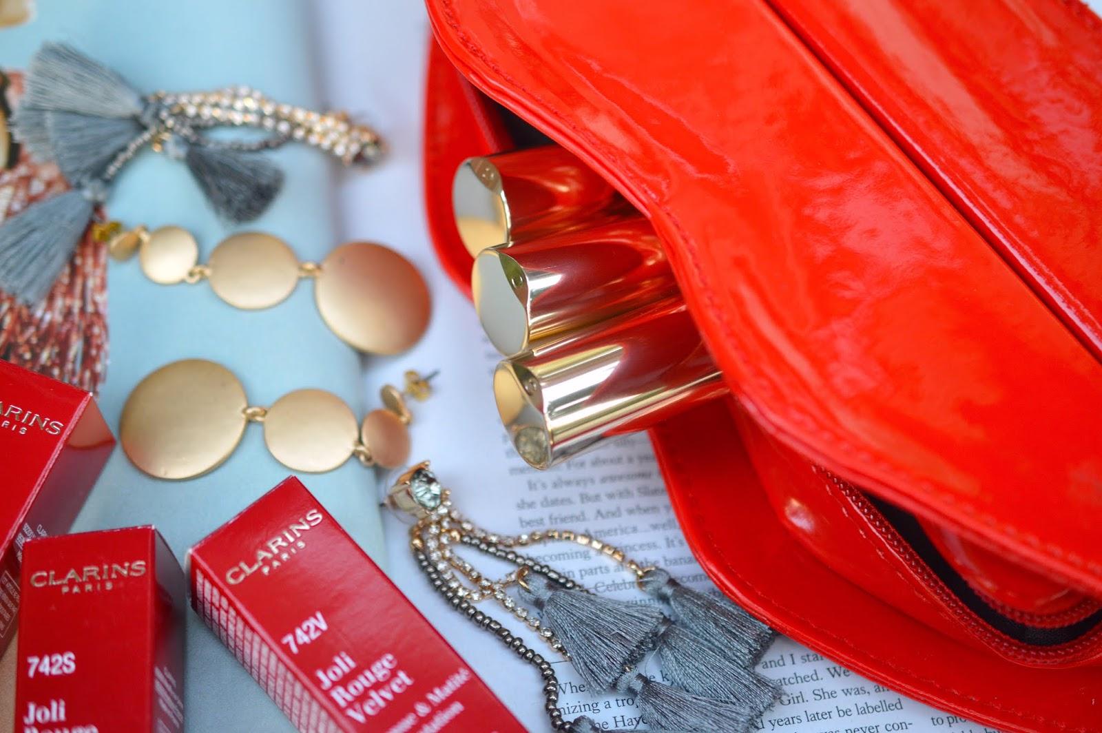clarins red lipstick