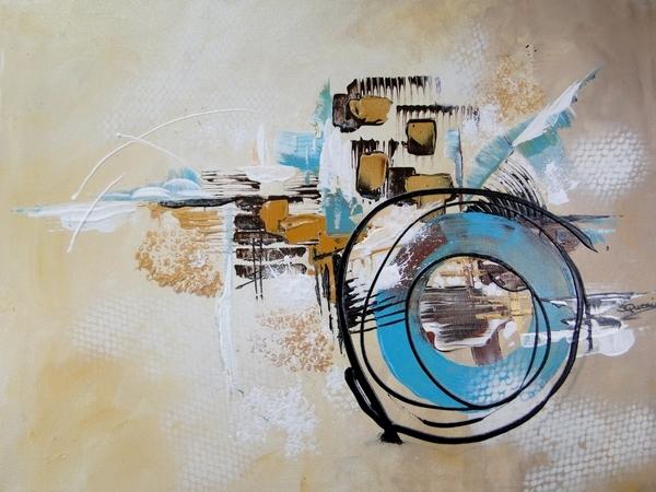 Tableau contemporain abstrait à l'acrylique 60x50 cm art moderne, déco salon, tons beige et bleu turquoise