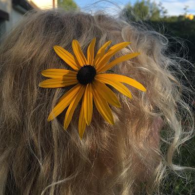 rudbeckia dans les cheveux blonds d'une fillette