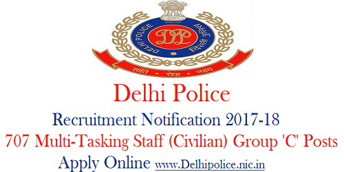 Delhi Police Multi-Tasking Staff (Civilian) Recruitment 2017-18