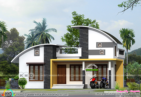 Curved roof style single floor house rendering