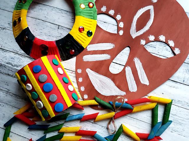 afrykańskie maski - biżuteria diy - geografia na wesoło - poznaję świat - nauka przez zabawę