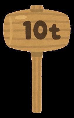 重い木のハンマーのイラスト(10t)