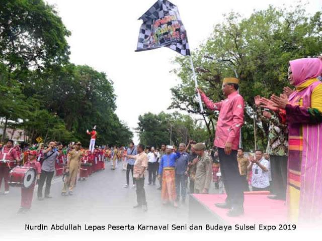Nurdin Abdullah Lepas Peserta Karnaval Seni dan Budaya Sulsel Expo 2019