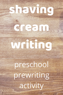 shaving cream writing: preschool prewriting activity