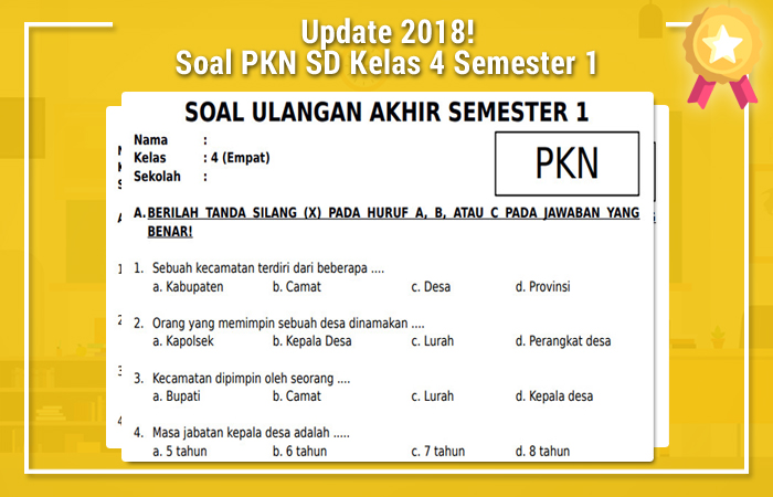 Soal PKN SD Kelas 4 Semester 1