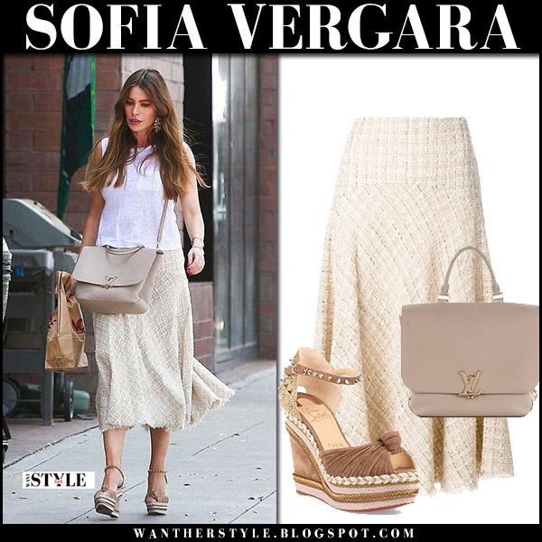 Sofia Vergara in white tee and cream tweed midi skirt alexander mcqueen street style april 7