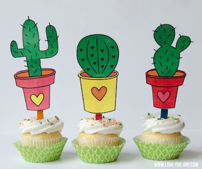 free cactus cupcake toppers