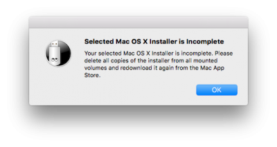 Unibeast ERROR Selected Mac OS Installer is Incomplete