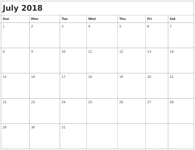 August 2018 calendar editable