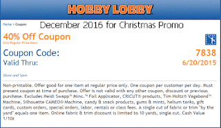 free Hobby Lobby coupons december 2016