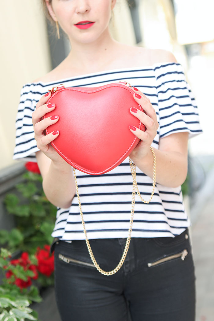 stripes red lips red heels red heart bag
