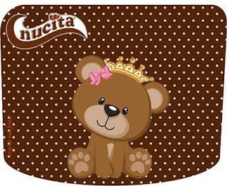 Etiqueta Nucita de Osita Princesa  para imprimir gratis.