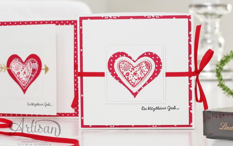 Kleine Valentinstags-Geschenke, Schokoladen Verpackung mit Karte