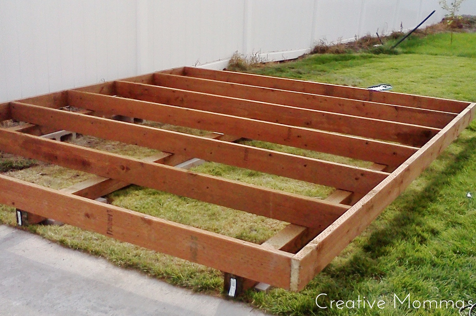 Creative mommas build a foundation for a shed for Garden shed floor ideas