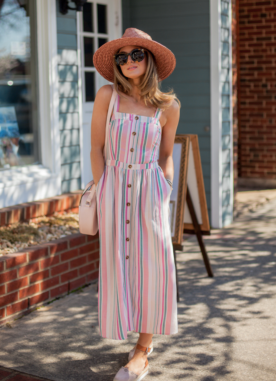 nordstrom bp stripe button front midi dress