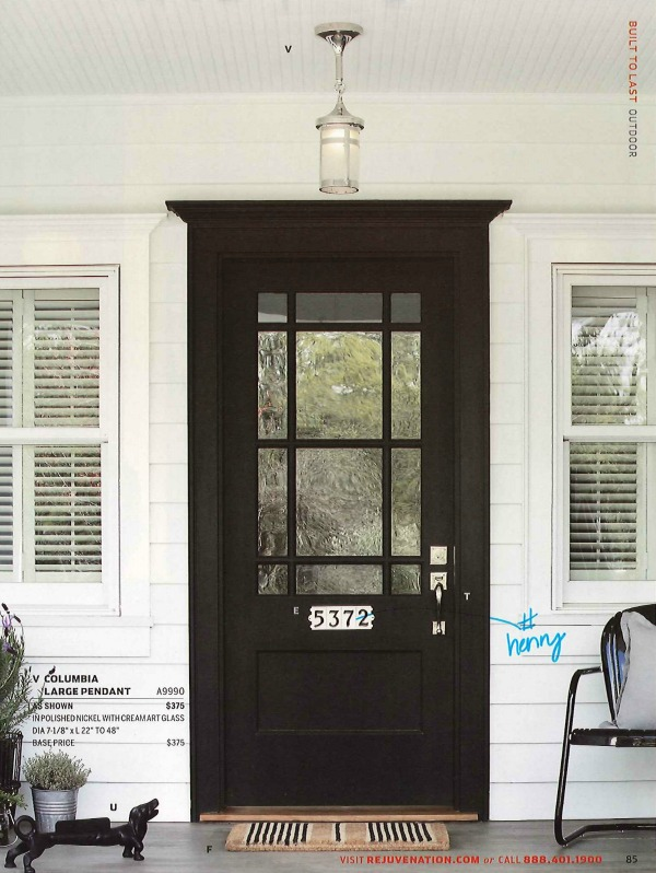 black front door, front entrance