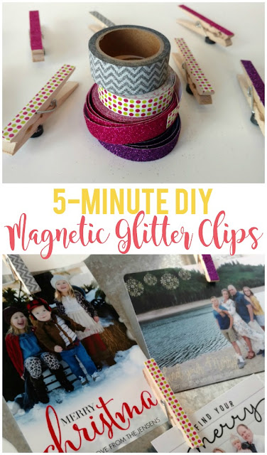 Add a little glam and glitter to some plain clothespins with washi tape then glue on a magnet for a simple DIY project that is both fun and practical!