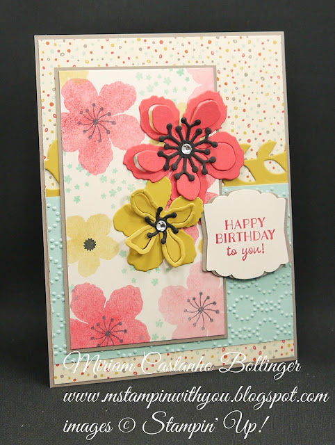 Miriam Castnho-Bollinger, #mstampinwithyou, stampin up, demonstrator, pp, birthday card, botanical blooms bundle, party pants stamp set, big shot, elegant dots tief, artisan label punch, su