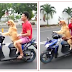 Hilarious video shows talented dog wearing sunglasses and riding moped down busy street
