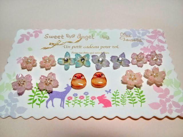 プラバンアクセサリー:桜と文鳥のピアス