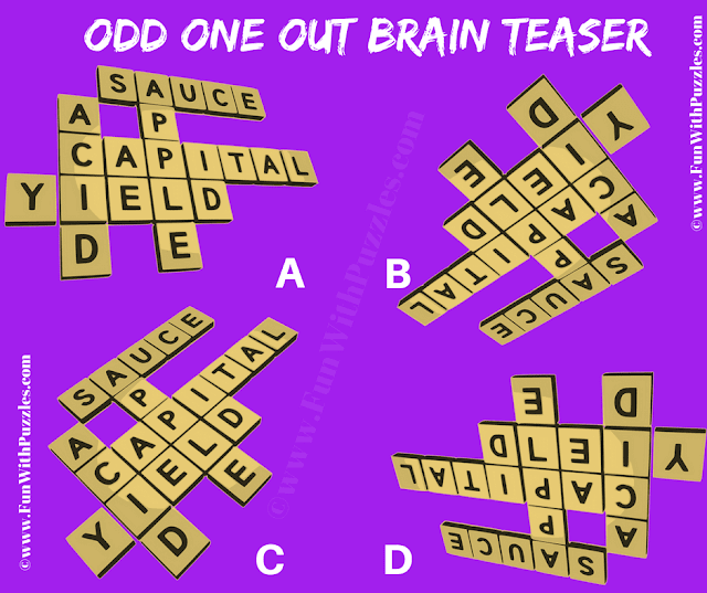 It is Picture Riddle in which one has to find Odd One Out Word Crossword Picture