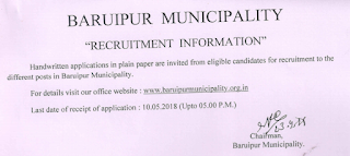 Baruipur Municipality Clerk, Helper Previous Question Papers & and Syllabus 2018