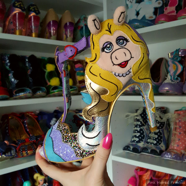 Miss Piggy suedette and glitter T bar shoe by Irregular Choice in shoe room