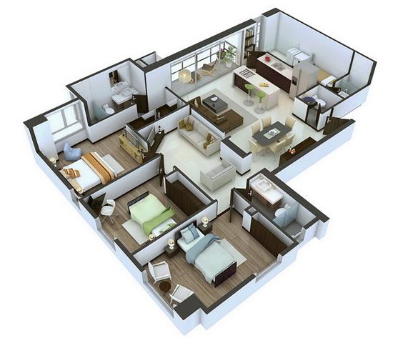 denah rumah modern dengan banyak jendela dan 3 kamar tidur
