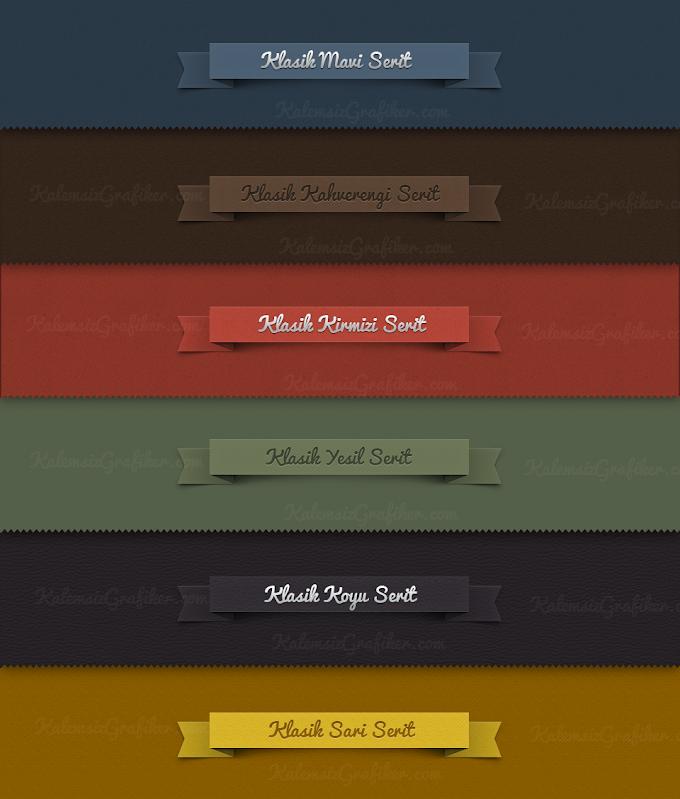 7 Adet Renkli Şerit PSD