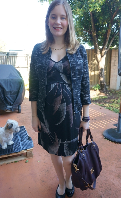 Away From The Blue | Second Trimester Office Wear Leona Edmiston Fern print dress boucle blazer