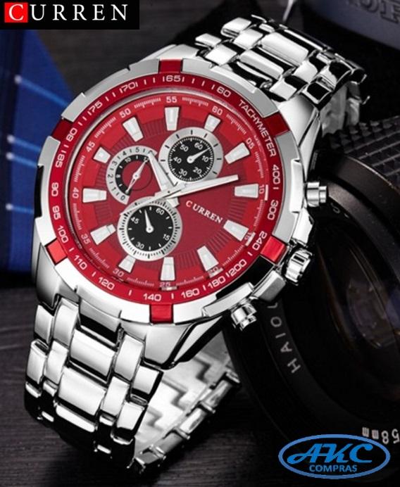 227c999280a7 Relojes CURREN plateado con rojo para hombre    AKC Compras