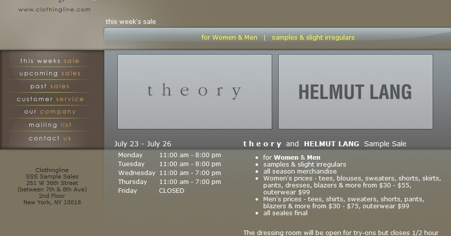 40c53418fb fashionably petite: Helmut Lang and Theory Sample Sale!