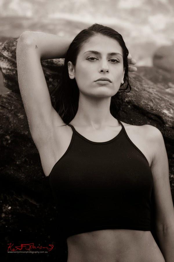 Beach location swimwear and fitness modelling portfolio mid shot, photographed in Sydney Australia by Kent Johnson.
