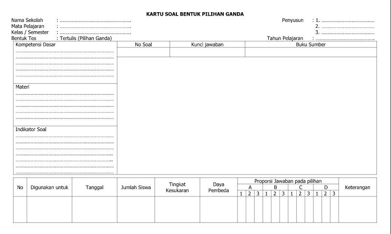 Contoh Bentuk Kartu Soal Bentuk Pilihan Ganda - Lembar 1 dalam Administrasi Guru Sekolah Format Ms. Word (doc/docx)